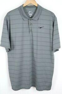 NIKE Dri-FIT Mens sz XL Gray Striped Short Sleeve Tennis / Golf Polo Shirt