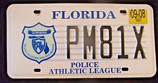 "FLORIDA PAL LICENSE PLATE ""PM 81 X "" FL  POLICE ATHLETIC LEAGUE COP SUPPORT COPS"
