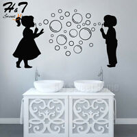 Boy Girl Bubbles Removable Vinyl Wall Sticker Decal Bathroom Shower Kids Nursery
