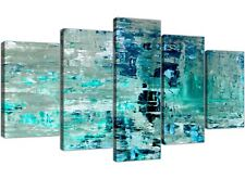 XL Turquoise Teal Abstract Painting Wall Art Print Canvas - Multi 5 Part - 5333