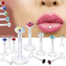 Lippenpiercing Madonna Labret Bioflex mit Farb - Zirkonia Kristall Schmuckstein