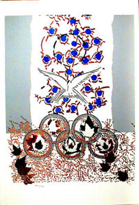 """Jean-Paul Riopelle 1988 Olympic """"Dove of Peace"""" 35"""" x 27"""" Signed & Nbr 169/300"""