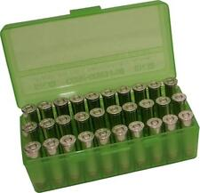 MTM PLASTIC AMMO BOXES (2) CLEAR GREEN 50 Round 38 / 357 - FREE SHIPPING