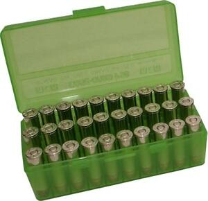 38 / 357 Ammo Box Clear Green 50 Round (Quantity 2) Free Shipping (MTM)