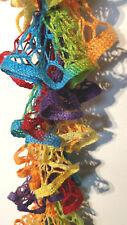 Handmade Crochet Ruffle Scarf Rainbow cottony
