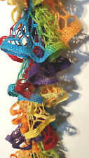 Rainbow scarf handmade Crochet Ruffle Scarf cottony