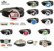 30MM  Aromatherapy Essential Oil Diffuser Locket Leather Strap Twist Bracelet