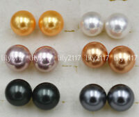 Wholesale 6Pairs 10/12mm South Sea shell pearl 925 Silver Plated Stud Earrings