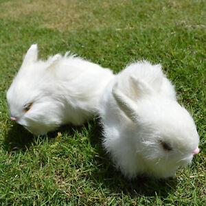 2 Mini Realistic Rabbits Handmade Home Decor Furry Easter Bunnies Fur Animal Set