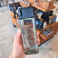 AU_ 300ml Transparent Plastic Square Leak-proof Outdoor Travel Water Bottle 6 Co