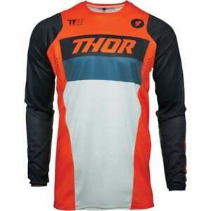 Thor Youth Kids Pulse Racer Motocross MX Offroad Bike Jersey - Orange/ Blue