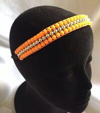 LULU Bead Orange/Silver Headband Stretch Adjustable-New