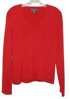 Banana Republic 100% Cashmere Red V-Neck Sweater Size Large L - SAC/17