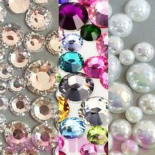 1600 pcs Resin round Rhinestones Pearls Flatback Mix Size & Color Bling Cabochon