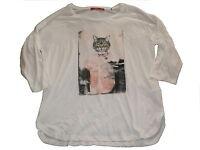 EDC by Esprit tolles Langarm Shirt Gr. XS creme mit Katzenmotiv !!