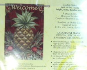 """Evergreen Decorative House Flag 29"""" x 43"""" Welcome Pineapple"""