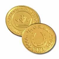 2 - 1/4 Gram .9999 Fine Gold Rounds in a Capsule - Horseshoe  Design- BU-Monarch
