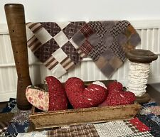 New ListingPrimitive Antique Quilt Hearts 1800's Set 3 Hand Made Valentine Bowl Fillers