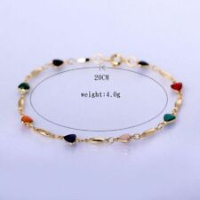 18K Gold Plated Fashion Women Multicolor Jewelry Zircon Heart Bangle Bracelet