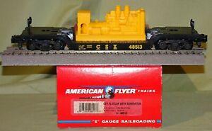 American Flyer 48513 CSX Depressed Center Flat w/ Generator Load S ga 1996