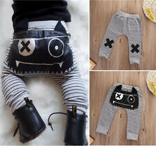 Newborn Baby Boy Girl Stripe Monster Bottoms Harem Pants Leggings Trousers 0-24M