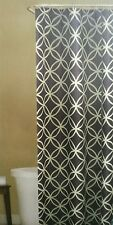 "Room & Retreat Fabric Shower Curtain 70""x72"" ~ Emma Blue White Geometric Pattern"