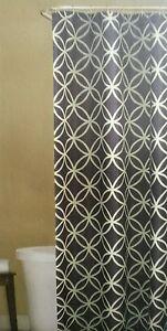 Fabric Shower Curtain Blue White Geometric