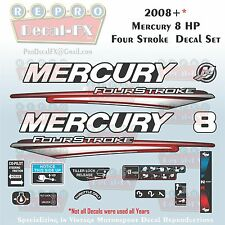 2008+ Mercury 8HP 4S Decals Four Stroke Reproduction Outboard 16 Pc. Vinyl