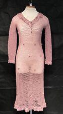 Vtg 30s 40s Crochet Knit Maxi Dress 3D Swirled Scalloped Flowers Cotton LILAC
