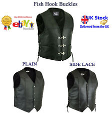 Mens Cut Off Motorcycle Waistcoat Cowhide Leather Black Biker Vest Jacket