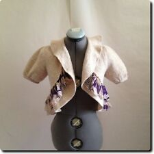 Anthropology Knitted Knotted Natural Wool Blend Jacket Blazer with Purple Silk M
