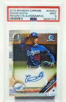 2019 Bowman Chrome Dodgers EDWIN UCETA Autograph Rookie Card PSA 9 MINT / Pop 3