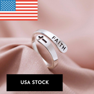 Adjustable Faith Cross Ring 925 Sterling Silver Religious Rings Jewelry Gift USA