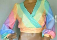 2020 Olivia Rubin Kendall Rainbow Sequin Striped Dress Blouse Top UK 6 / US 2