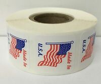 """1"""" x 1"""" MADE IN U.S.A. American Flag Decals Stickers Laminated 500 Labels"""