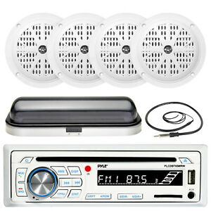 """Bluetooth USB SD AUX Boat Radio, Cover, Antenna, Pyle 5.25"""" 100W White Speakers"""