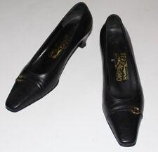 """Ferragamo 7 B Black ALL Leather Pumps Gold Gancio Logo 1.8"""" Heels Lizard Toe Cap"""