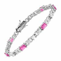 """Created Pink & White Topaz Tennis Bracelet in Sterling Silver, 7.5"""""""