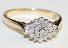 Impressive 9ct Gold Diamond Cluster Ring 0.20cts Size M