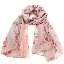 Foulard léger motif fleurs rose corail 180 x 90 cm - Chèche Écharpe