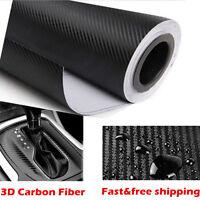 Car 3D Carbon Fibre Vinyl Wrap (Air/Bubble Free) Black 20*152cm Sheet Sticker