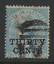CEYLON : 1885 surcharges 30c on 36c blue SG169 used