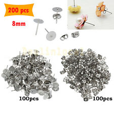 200PCS Earring Stud Posts 8mmPads & Nut Backs Silvery Surgical Steel DIY Craft