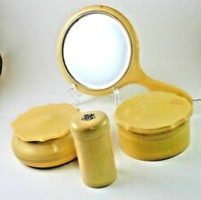 Celluloid Plastic Vanity Accessories Powder Box Shaker Hair Keeper Mirror 7 Pcs