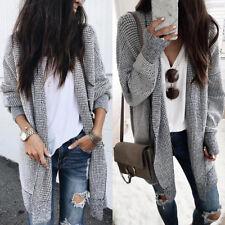 Womens Autumn Winter Check Sweater Long Cardigan Coat Knit Jacket Jumper Outwear