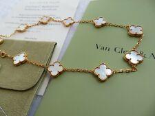 Van Cleef & Arpels VCA 10 Motif Mother of Pearl 18k YG Alhambra Necklace