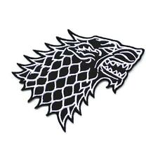 "STARK WOLF IRON ON PATCH 5"" Embroidered Applique Black White Game of Thrones"
