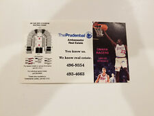 Omaha Racers 1991/92 CBA Basketball Pocket Schedule - The Prudential