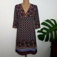 Future State Dress SZ M V Neck Retro 70s Look 3/4 Sleeves Paisley Print