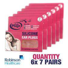 x7 Pairs x6 Packs HUSH PLUGZ Silicone Earplugs Ear Plugs Ear Defenders 42 Pairs